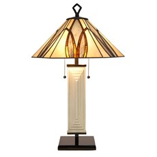 Tiffany Art Deco Lampe de Table Round & Square