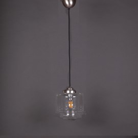 Lampe Suspendue au Cordon de Lin Vintage Stepped Cylinder small Transparant